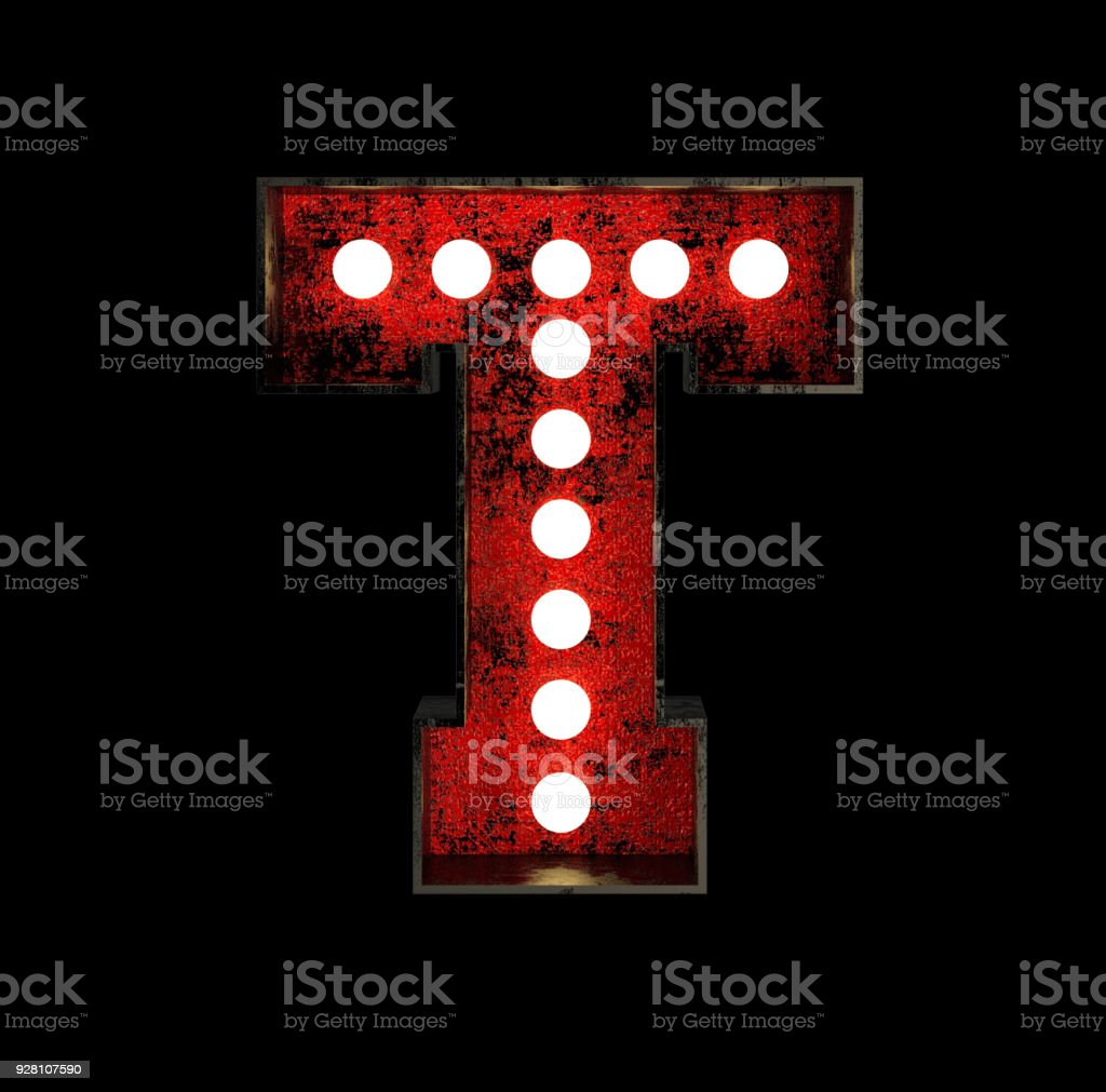 Letter T. Broadway Style Light Bulb Font stock photo
