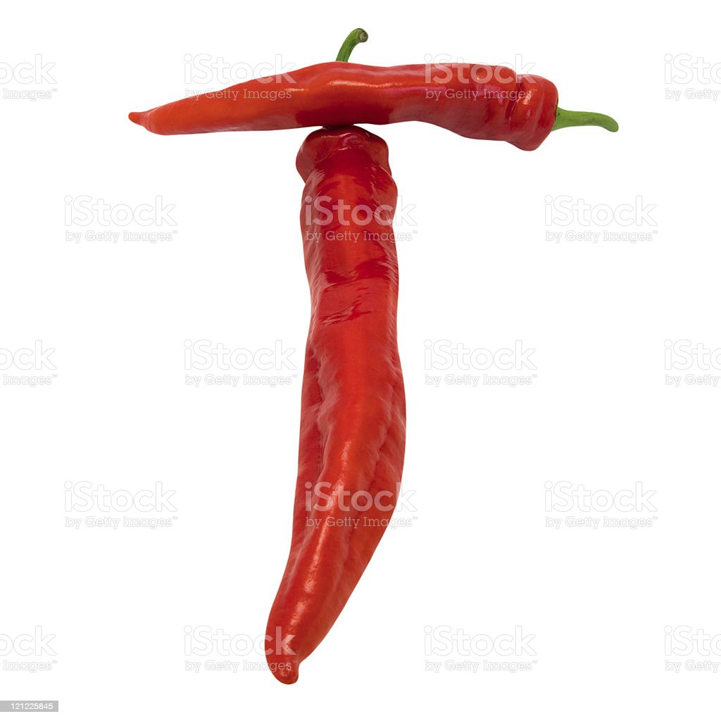Letter T composed of chili peppers stock photo