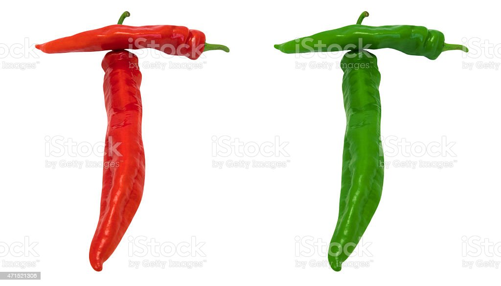 Letter T composed of green and red chili peppers stock photo