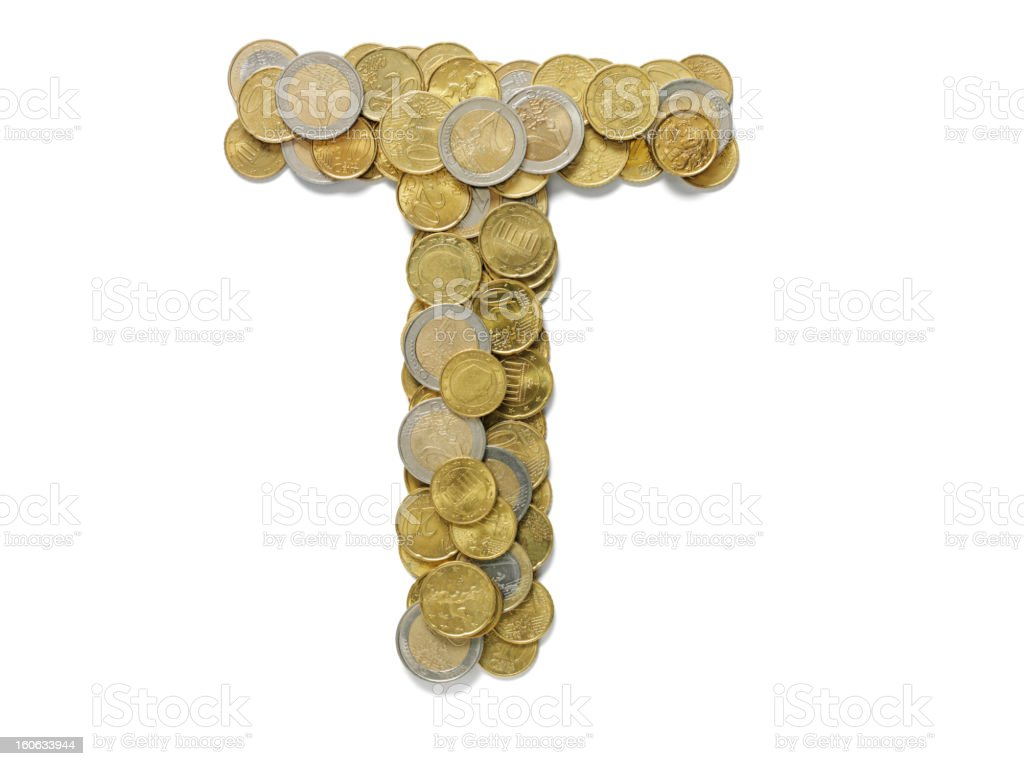 Letter T in Euros royalty-free stock photo