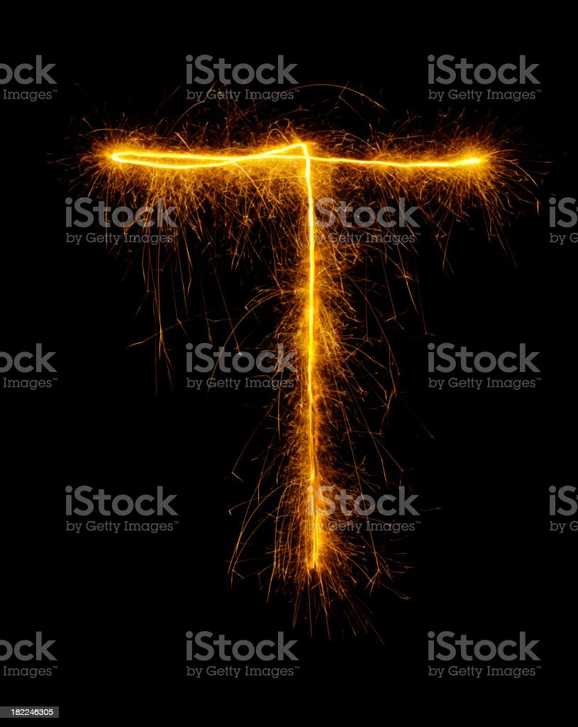 Letter T in Fireworks royalty-free stock photo