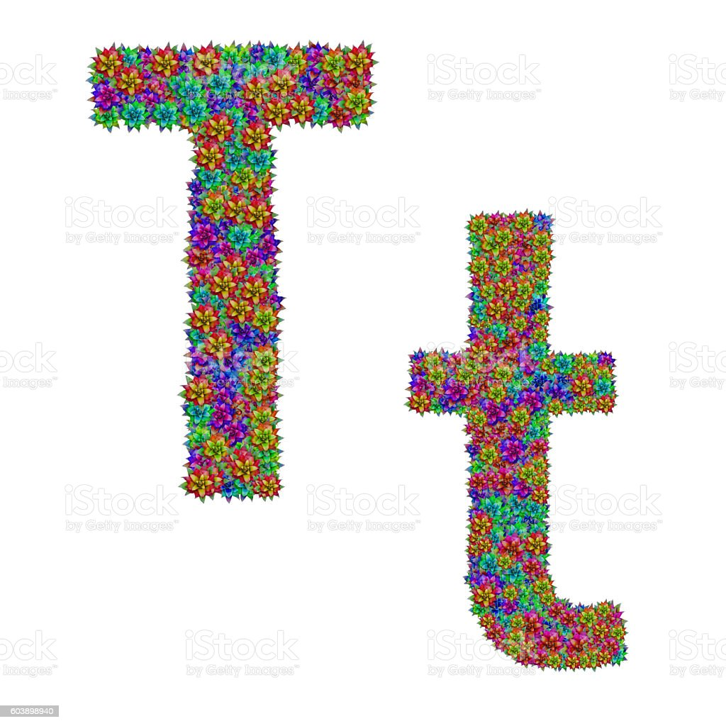 letter T made from bromeliad flowers stock photo