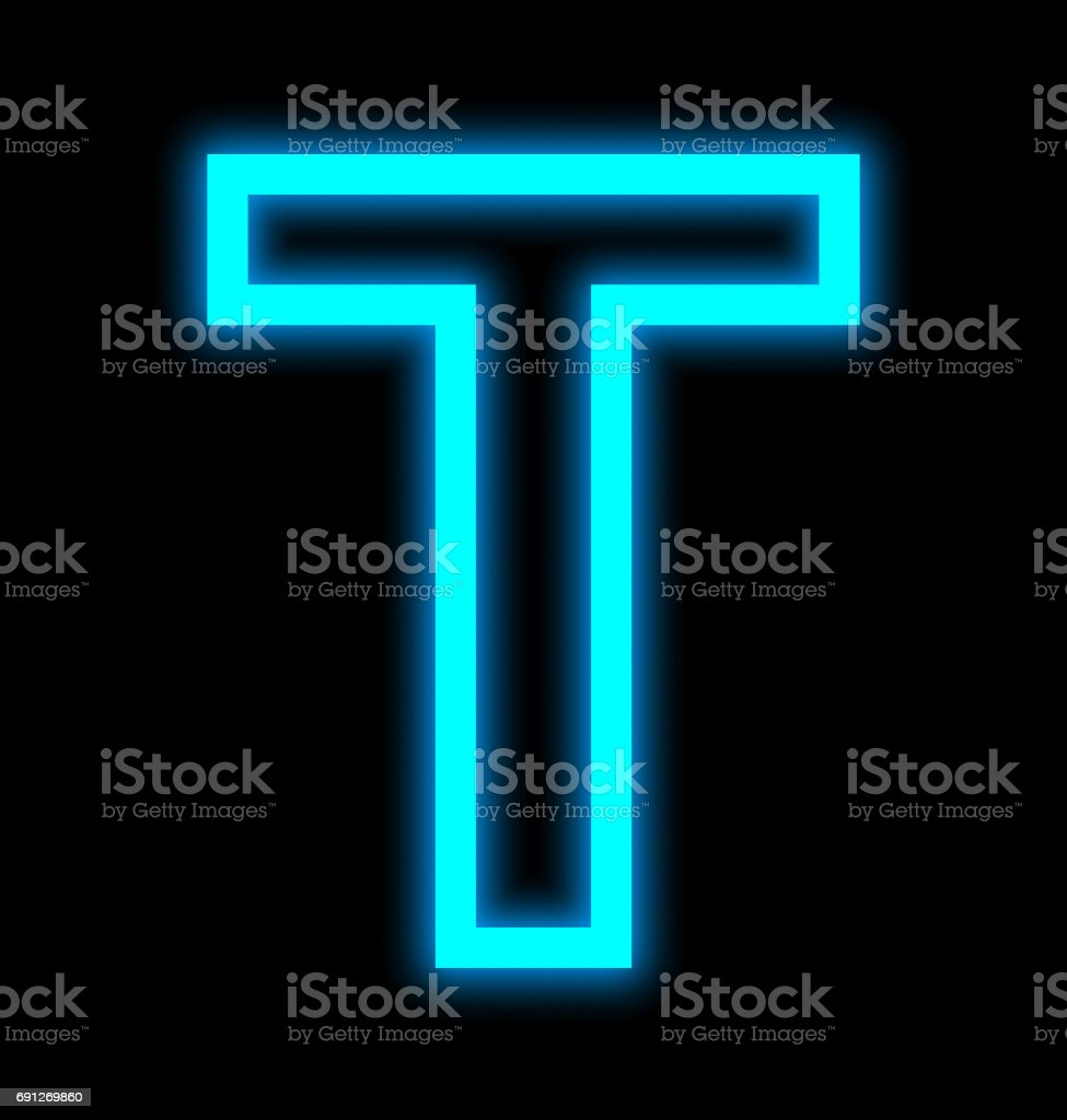 letter T neon lights outlined isolated on black stock photo