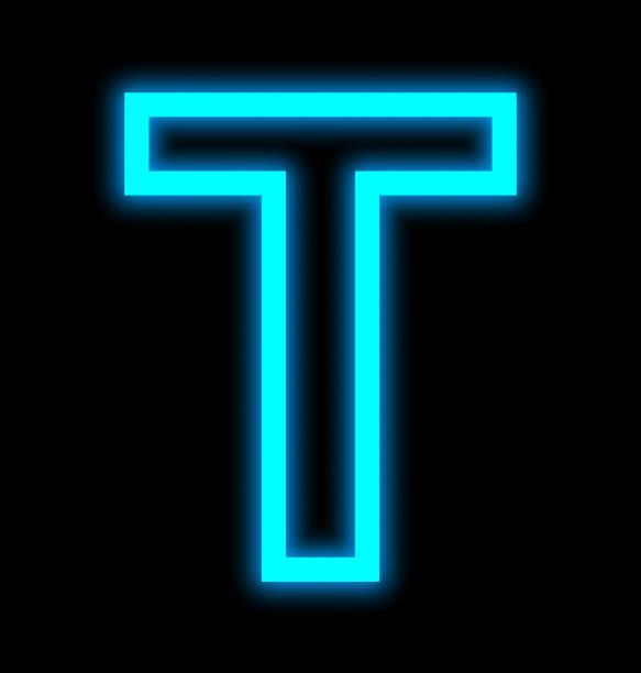 buchstabe t-neon-leuchten umrissen isoliert auf schwarz - t stock-fotos und bilder