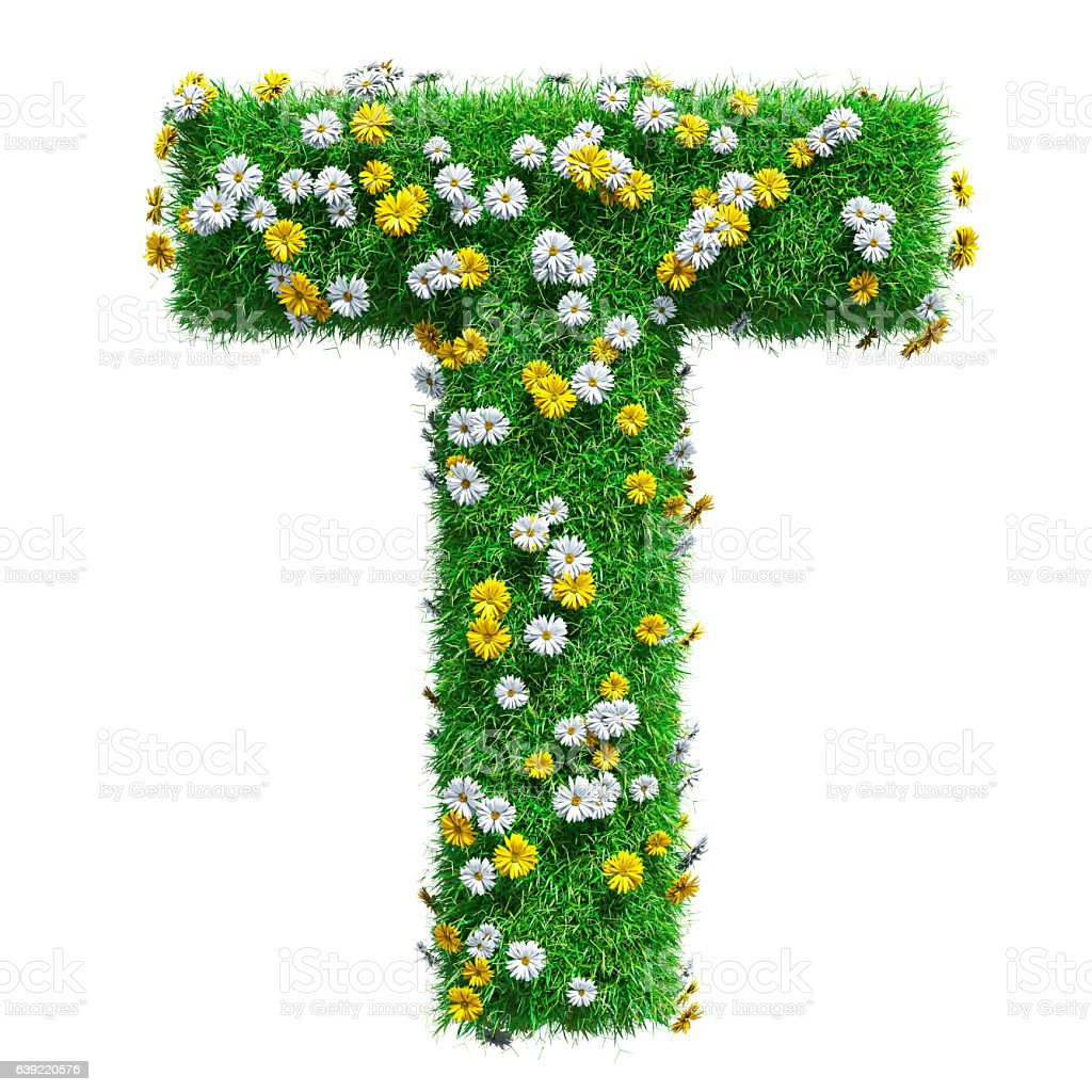 Letter T Of Green Grass And Flowers stock photo