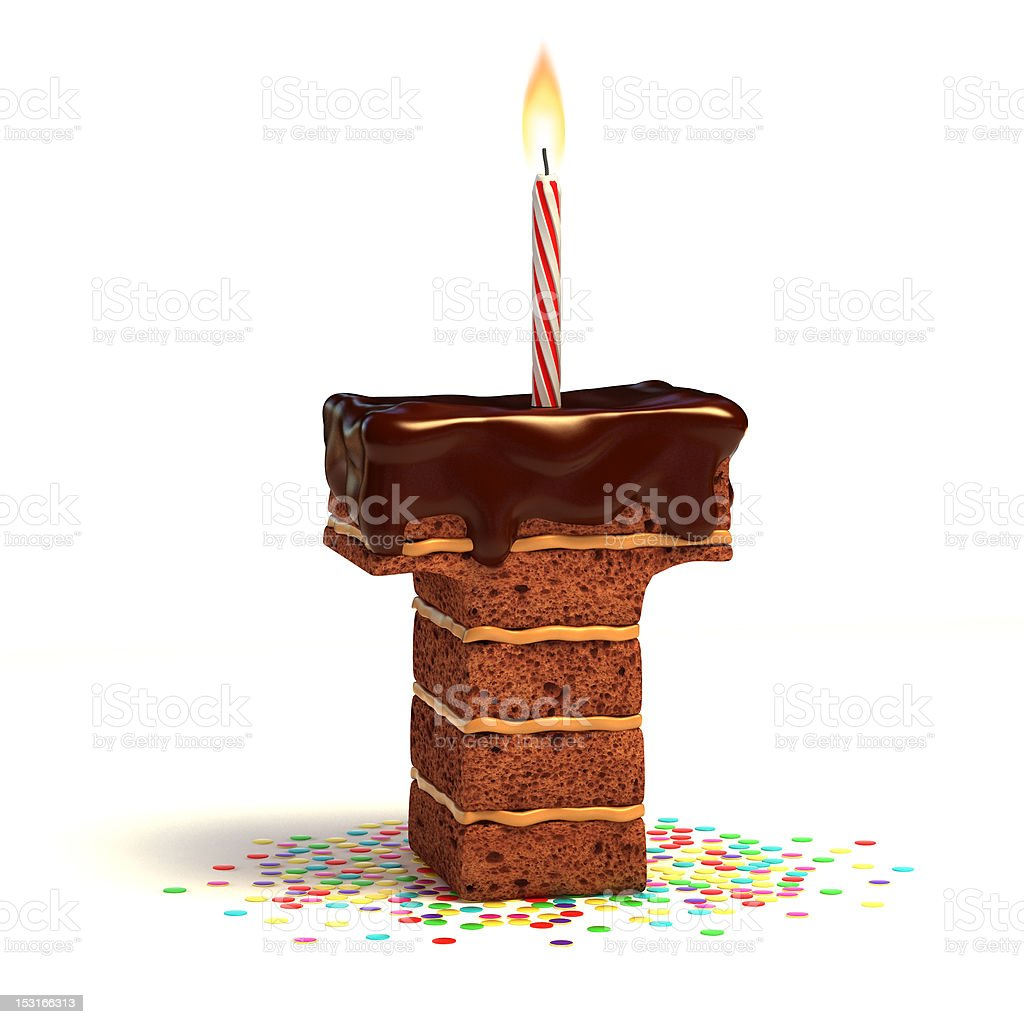 letter T shaped chocolate cake royalty-free stock photo