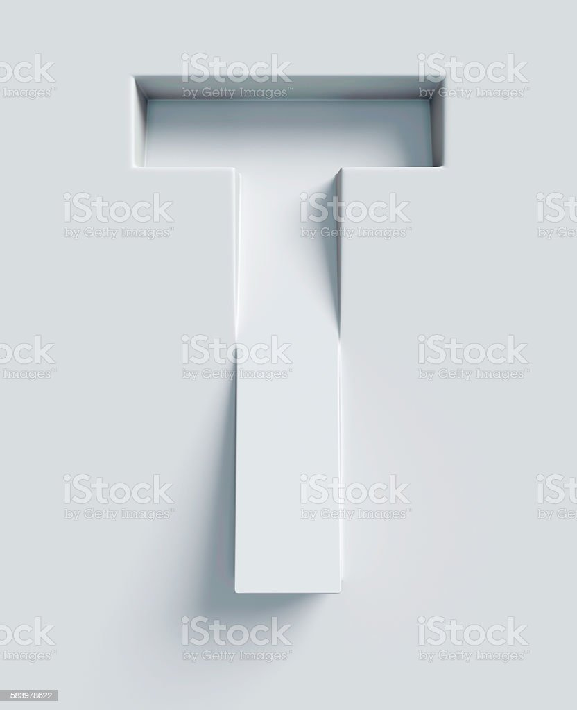 Letter T slanted 3d font engraved and extruded from surface stock photo