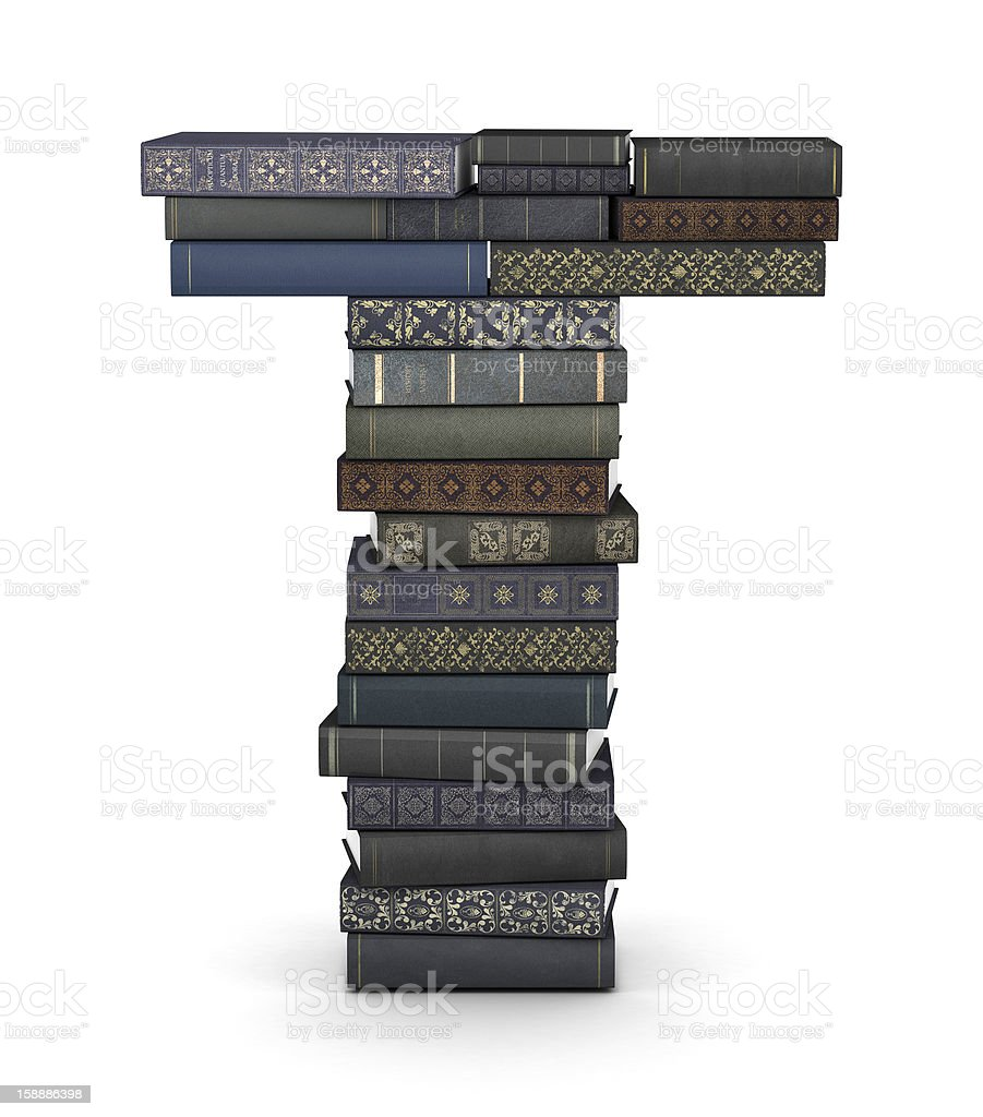 Letter T, stack of books royalty-free stock photo