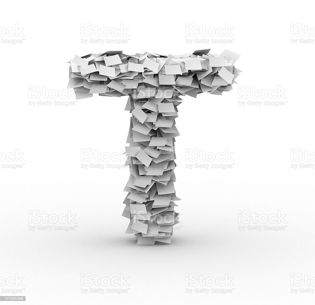 Letter T, stacked from paper sheets royalty-free stock photo