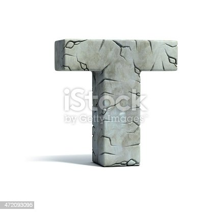 583978622 istock photo letter T stone 3d font 472093095