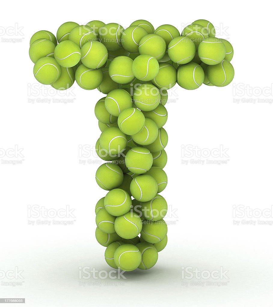 Letter T, tennis balls alphabet royalty-free stock photo