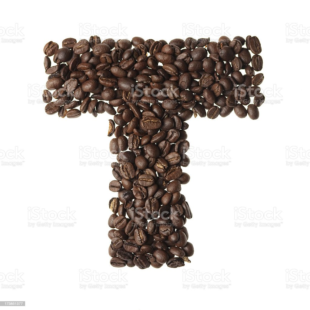 Letter T written with coffee royalty-free stock photo