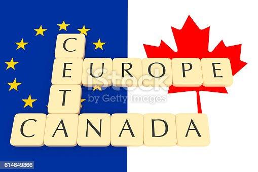 istock Letter Tiles: CETA, Europe, Canada, Canadian And EU Flag, illustration 614649366
