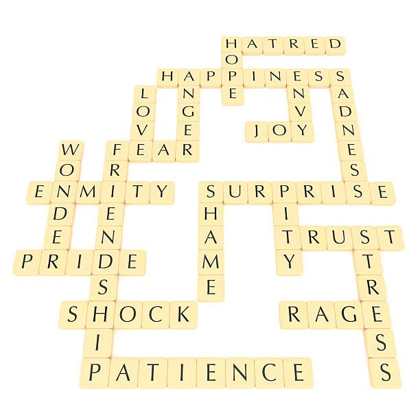 letter tiles: english words, feelings and emotions, 3d illustration - fliesen verlegen stock-fotos und bilder