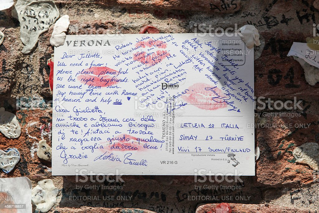 Letter to Juliet attached to a wall in Verona, Italy stock photo