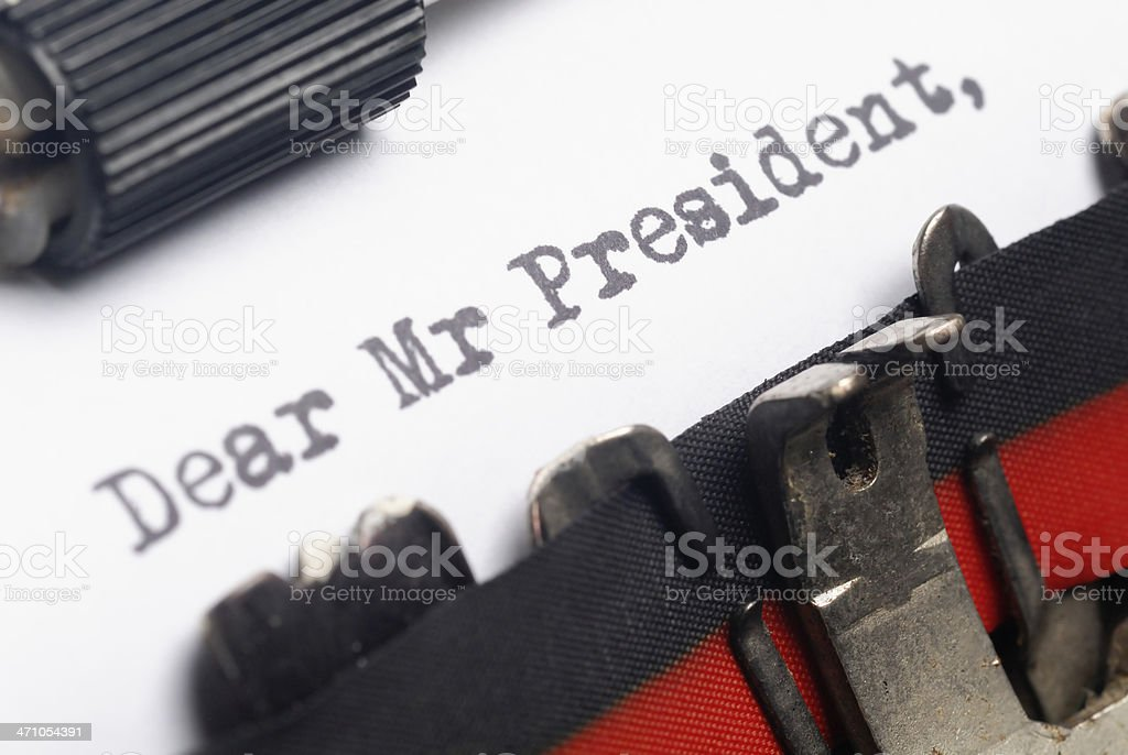Letter to President stock photo
