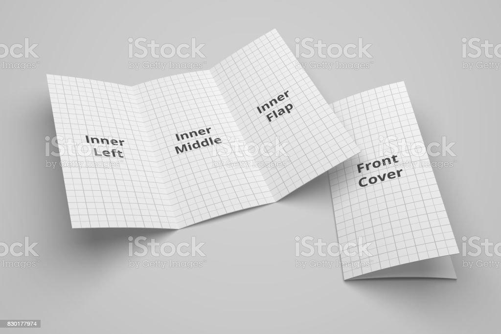 us letter tri fold brochure 3d illustration mockup with grid no 1