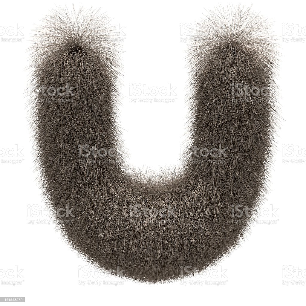 Letter U from fur alphabet stock photo