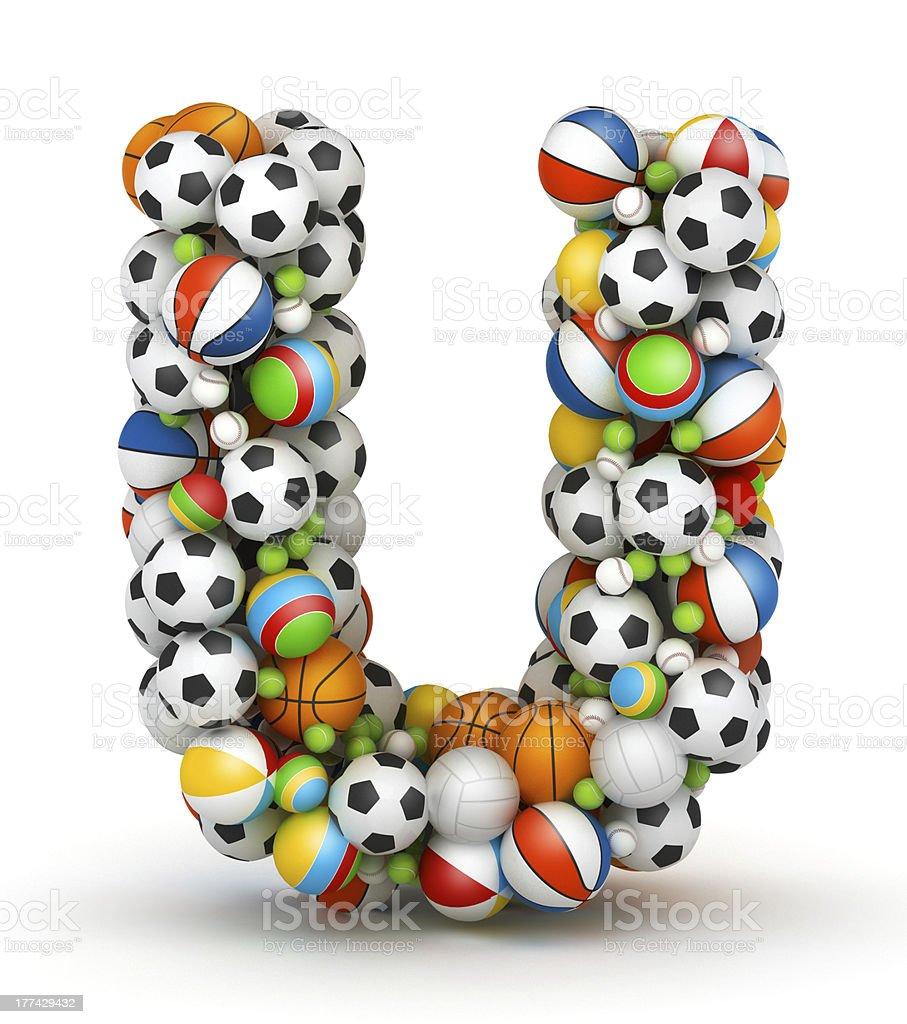 Letter U, gaming balls alphabet stock photo