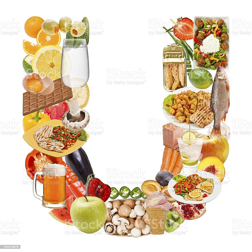 Letter U made of food royalty-free stock photo