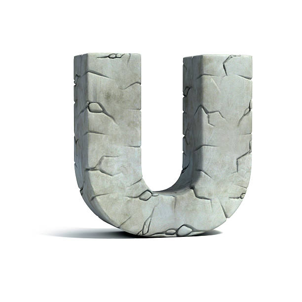 letter u stone 3d font - stone font stock photos and pictures