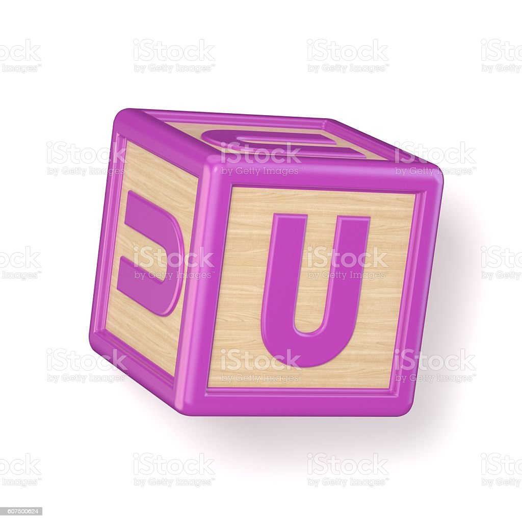 letter u wooden alphabet blocks font rotated 3d royalty free stock photo