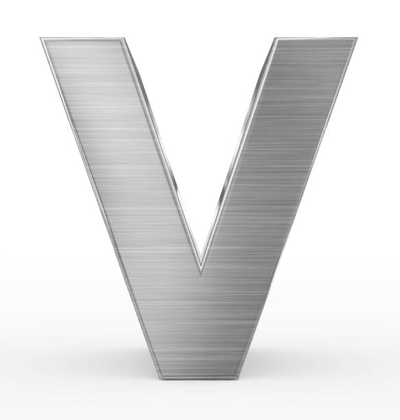 letter V 3d metal isolated on white stock photo