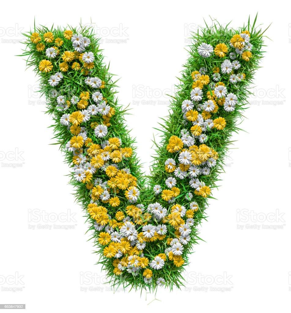 Letra V de verde hierba y flores - foto de stock
