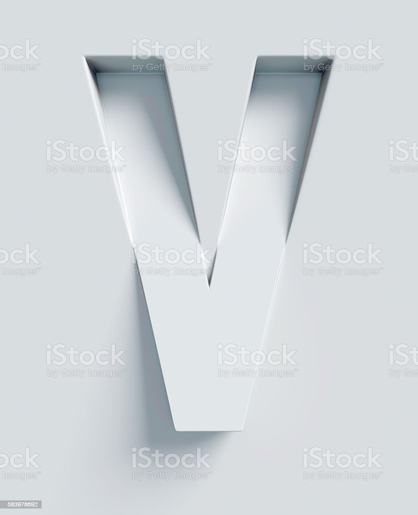 Letter V slanted 3d font engraved and extruded from surface - foto de stock