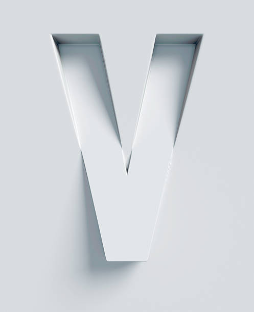 Letter V slanted 3d font engraved and extruded from surface stock photo