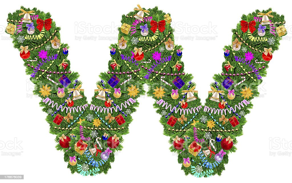 Letter W. Christmas tree decoration royalty-free stock photo