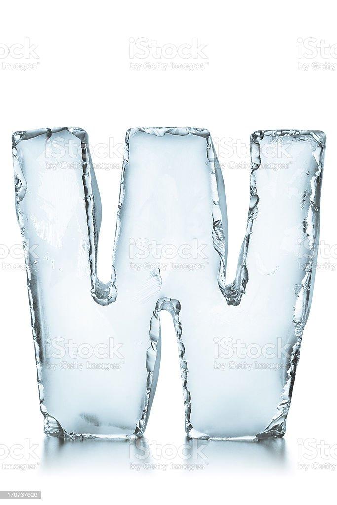 Letter W frozen ice block alphabet stock photo
