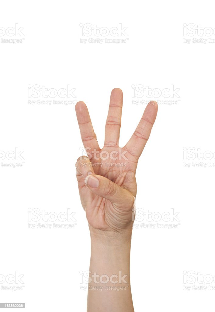 Letter W in American Sign Language stock photo