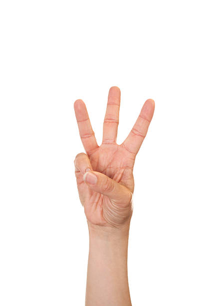 Letter W in American Sign Language Caucasian female making the letter W using American Sign Language. letter w stock pictures, royalty-free photos & images