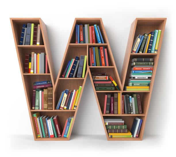 Letter W in the form of shelves with books isolated on white. Letter W in the form of shelves with books isolated on white. 3d illustration  letter w stock pictures, royalty-free photos & images