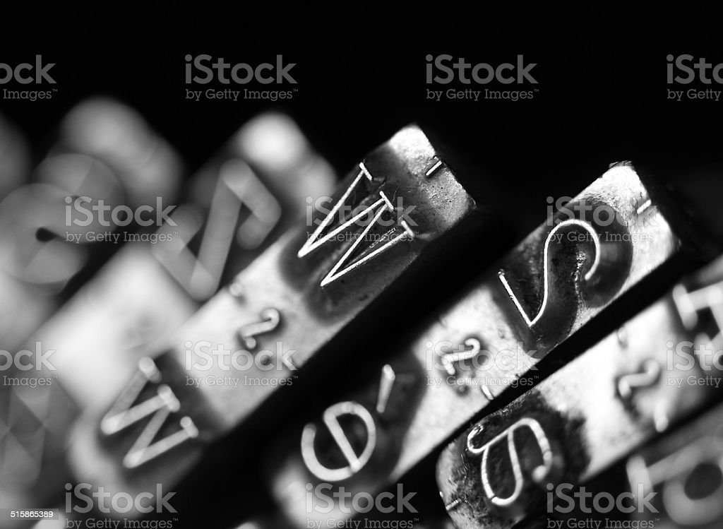 letter W of very old typewriter stock photo