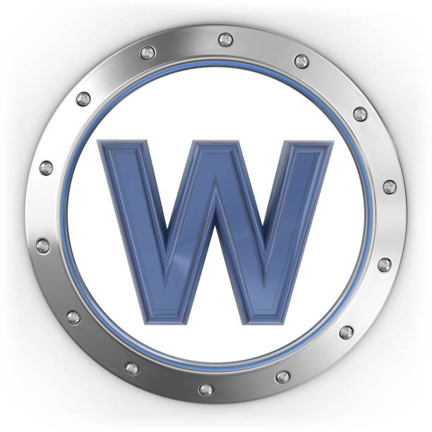 Letter W on the Metal Button 3d render. Letter on metal button isolated on white background. letter w stock pictures, royalty-free photos & images