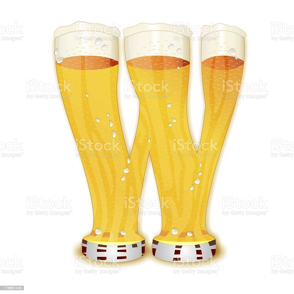 BEER ALPHABET letter W stock photo