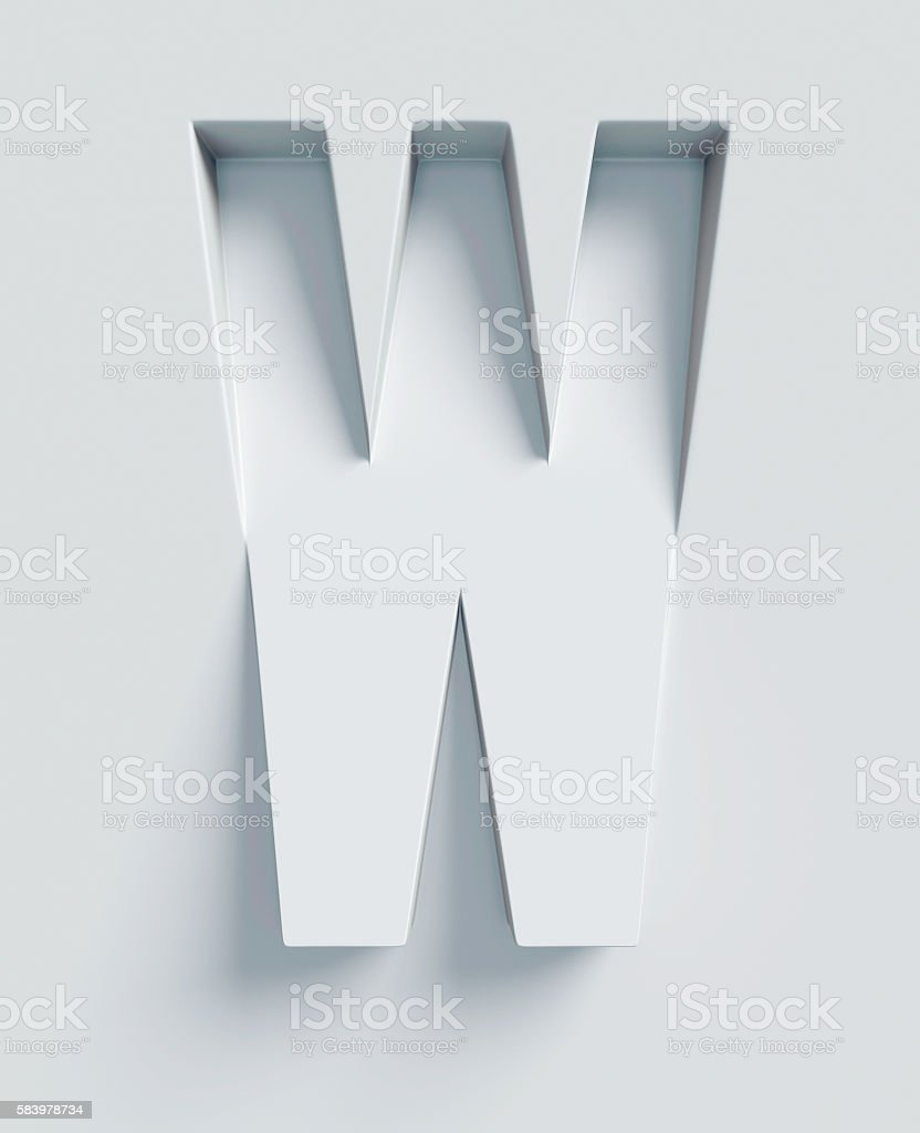 Letter W slanted 3d font engraved and extruded from surface stock photo