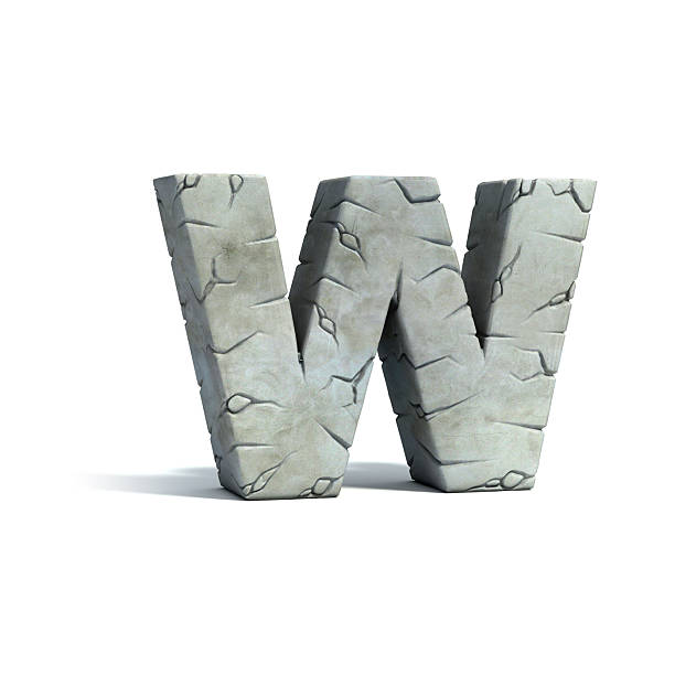 letter w stone 3d font - stone font stock photos and pictures