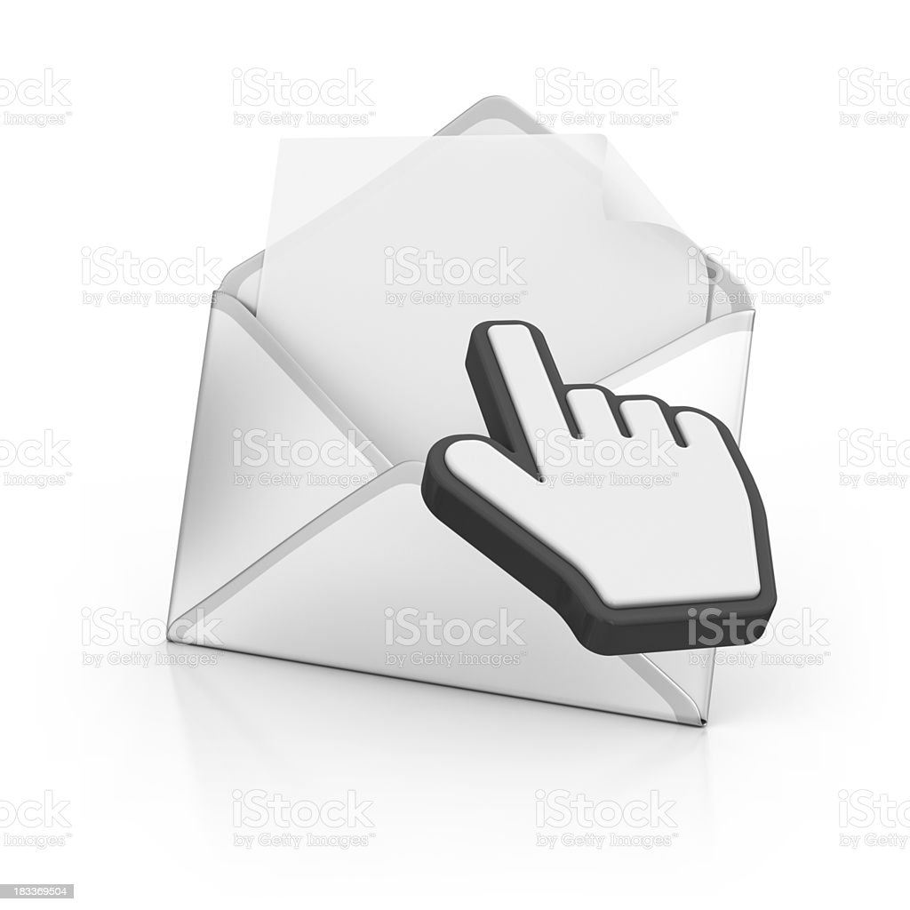 letter with hand cursor royalty-free stock photo