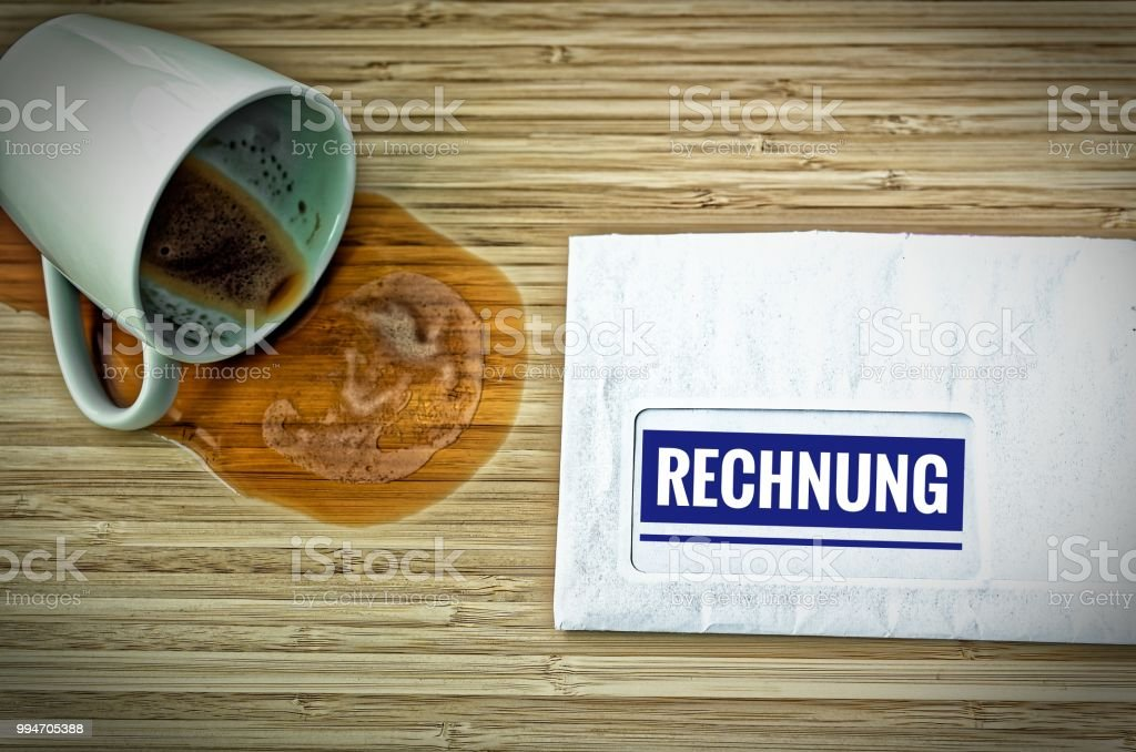 letter with in german rechnung in english bill and a dumped coffee cup from fright stock photo. Black Bedroom Furniture Sets. Home Design Ideas