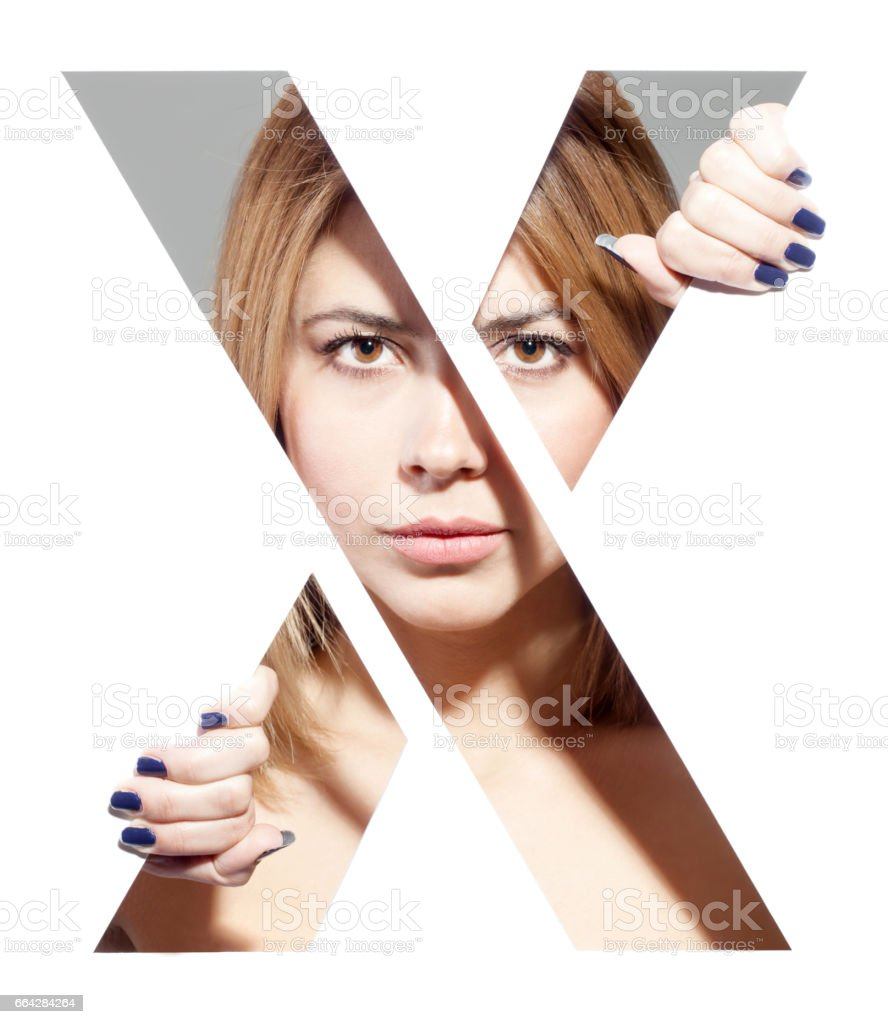 letter 'X' female portrait stock photo