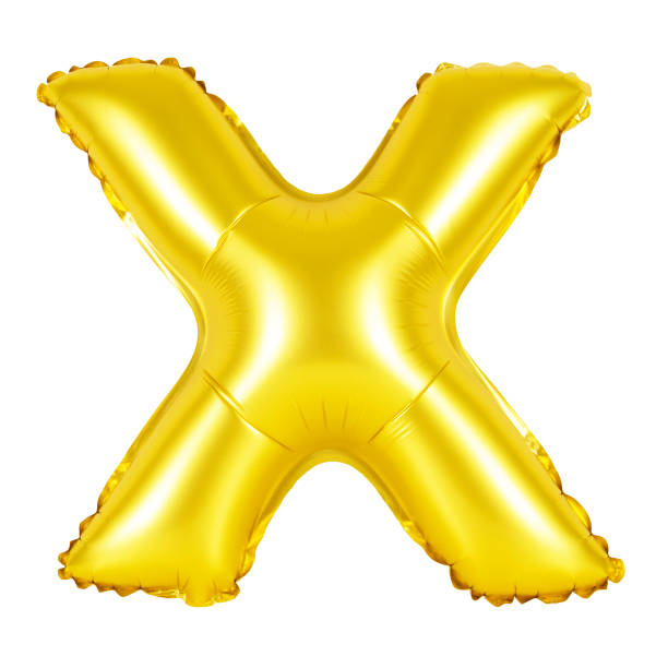 Letter X from English alphabet (golden) stock photo