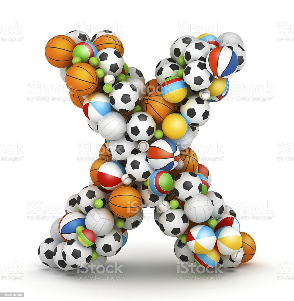 Letter X, gaming balls alphabet royalty-free stock photo