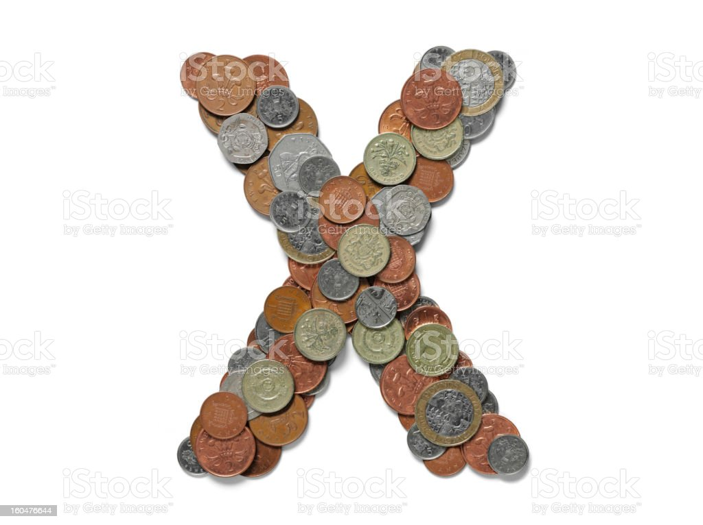 Letter X in British Coins royalty-free stock photo
