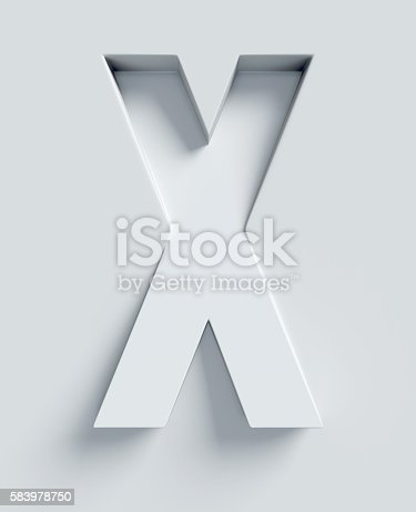 istock Letter X slanted 3d font engraved and extruded from surface 583978750