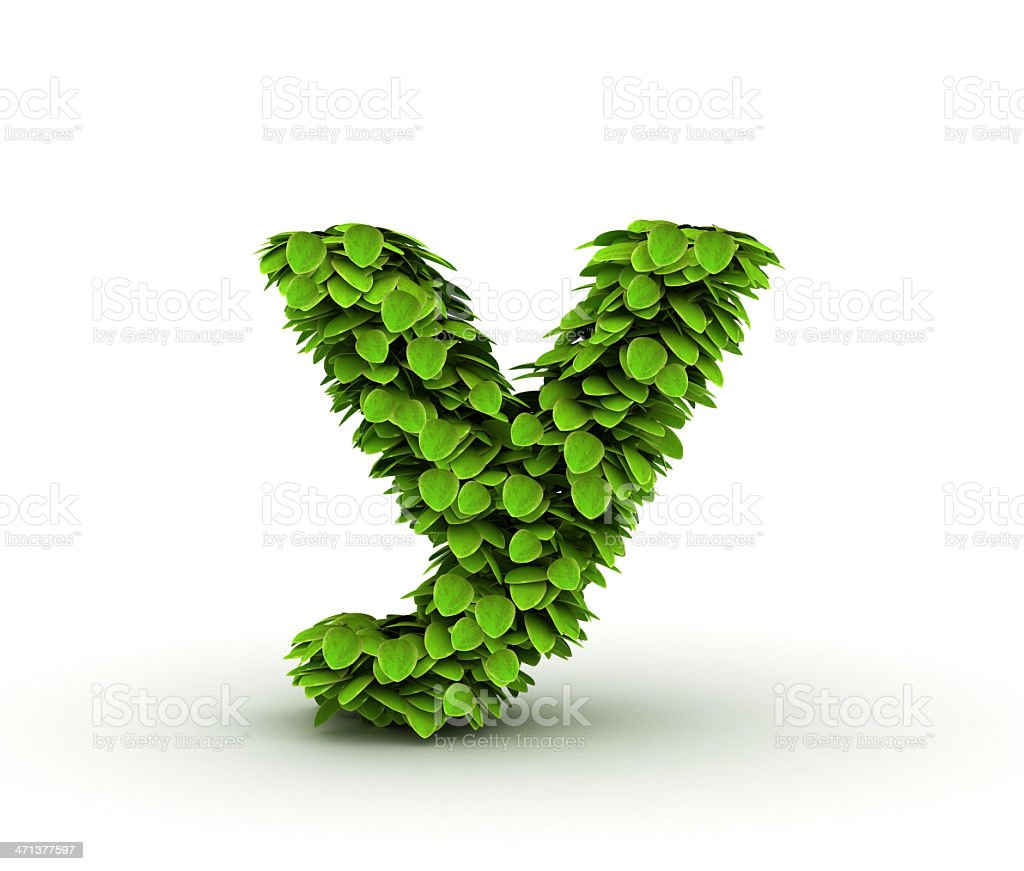 Letter y, alphabet of green leaves royalty-free stock photo