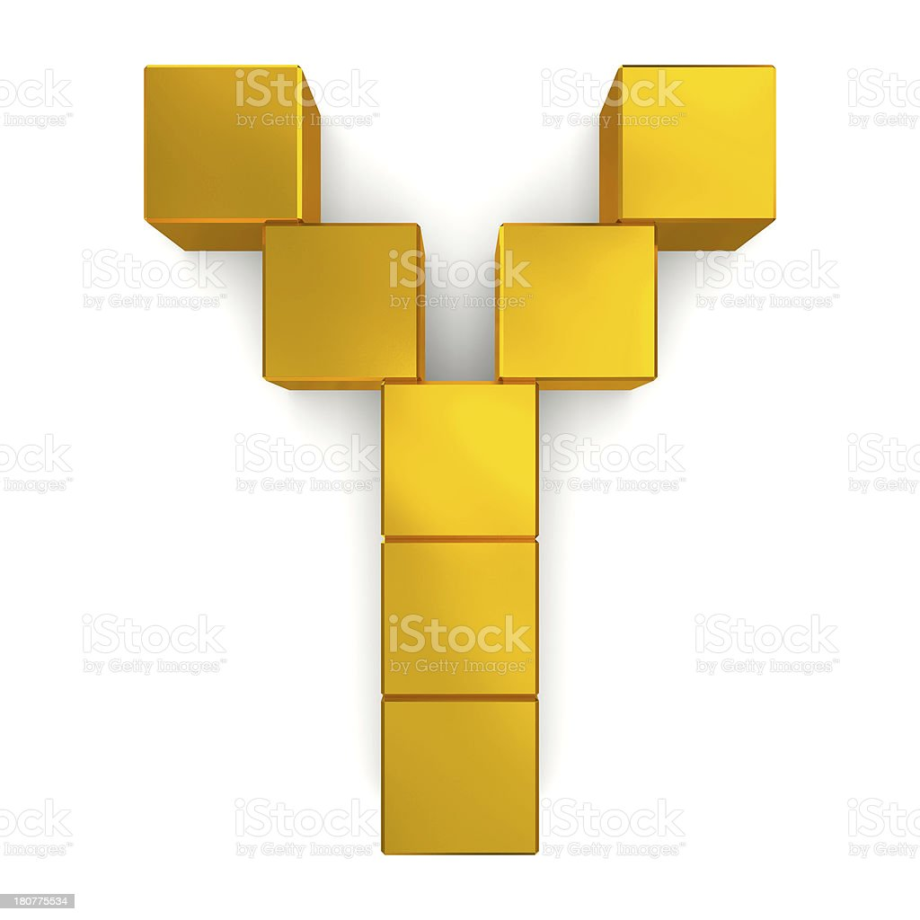 letter Y cubic golden royalty-free stock photo