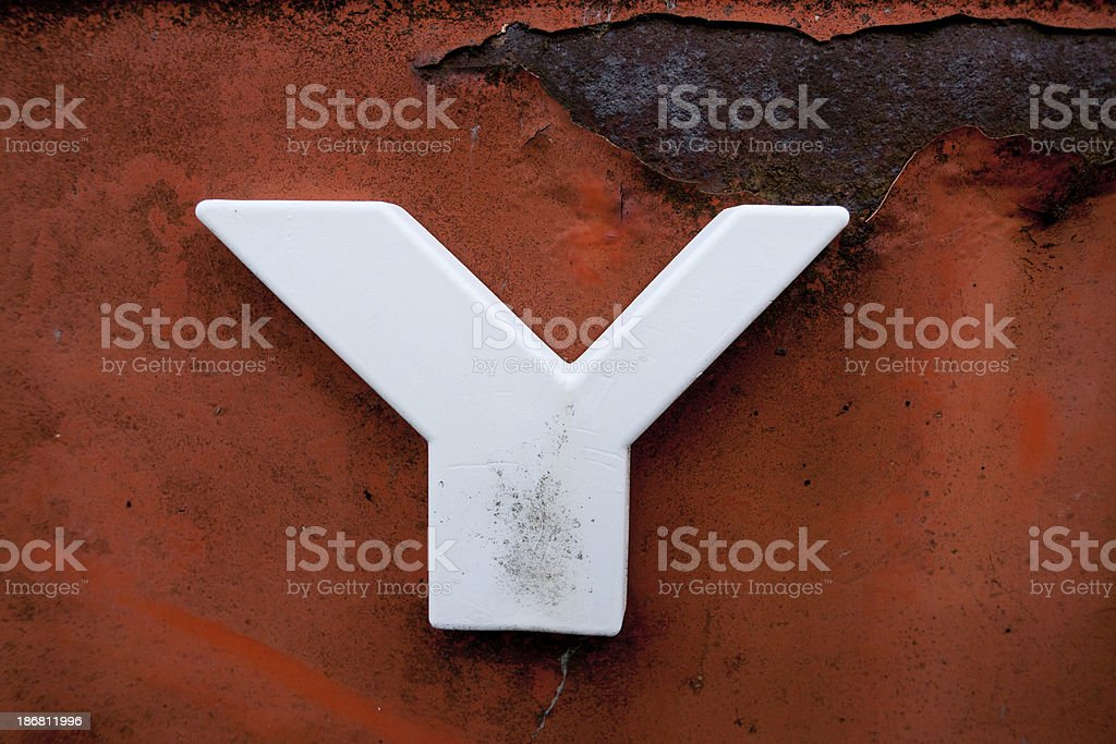 letter Y on old metal royalty-free stock photo